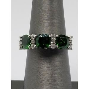 Women's Sterling Silver 925 Ring with White & Gree